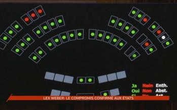 Lex Weber: le compromis confirmé aux Etats