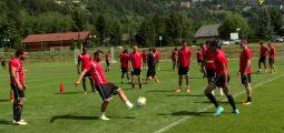 Le FC Sion en entraînement à Bluche avant le match de dimanche à Thoune