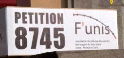 Pétition déposée par F'unis, l'association de défense des usagers du funiculaire Sierre-Montana-Crans