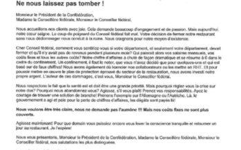 GastroSuisse: des lettres de restaurateurs en colère à Guy Parmelin